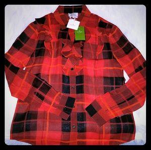 Kate spade woodland plaid chiffon blouse